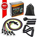 SMAID Premium Resistance Bands Set - Include 5 Stackable Exercise Bands with Waterproof Carrying Case, with Door Anchor Attachment, Legs Ankle Straps Resistance Training, Home Workouts