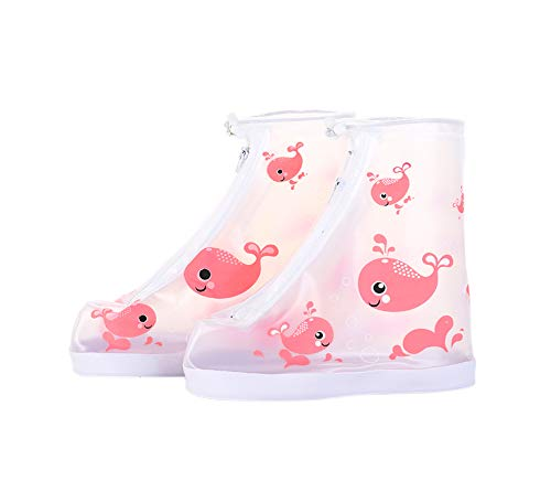 Kids Waterproof Shoe Cover 1 Pair Cartoon Rain Snow Boots Cover for Children Reusable Overshoes, Pink Whale Pattern