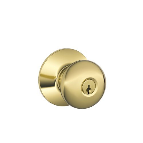 Brass Finish Door Locks - Schlage F51A PLY 605 Plymouth Knob Keyed Entry Lock, Bright Brass