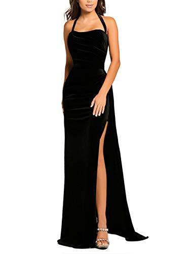 made2envy Thigh High Split Velvet Evening Gown (XL, Black) LC610993BXL