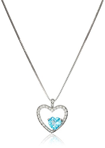 Heart-Shaped with Blue Topaz and Diamond Pendant Necklace in Sterling Silver, 18