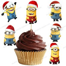 minions christmas cupcake toppers minions birthday party decoration pack of 12 - Minions Christmas