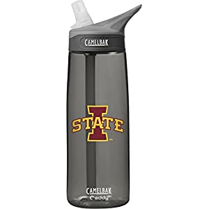 NCAA Iowa State Cyclones Unisex CamelBak Eddy 75L Collegiate Water Bottle, CHARCOAL, 75 Liter