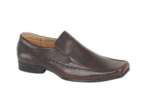 Brown Tramline Loafers Mens MAXWELL Faux Brown Leather Goor FwIYg8Pq