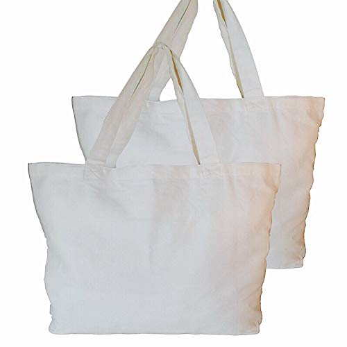 Tote Bag 2 PACK Grocery and Produce 100% Certified Organic Cotton Heavy Natural Canvas 15