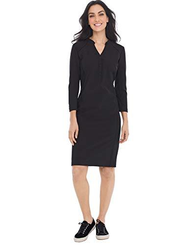 (Chico's Women's Zenergy Neema Knit-Inset Dress Size 4 S (0) Black)