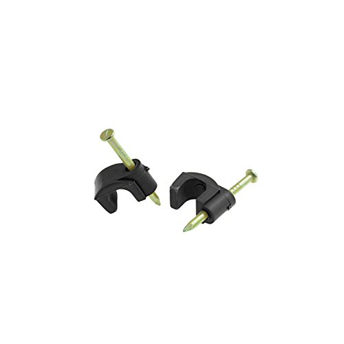 e Clips (100 pcs - Black) With Hardened 1 Inch Nail For Cat5 / Cat5e Ethernet Cable (0.24in Diameter) (Part# MCC60-BLA ) ()