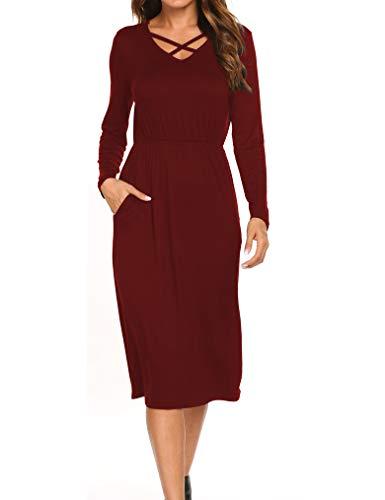 Tobrief Femmes Col V Criss Manchon Élastique Transversale Longue Robe De Midi De Ceinture Avec Des Poches Vin Rouge