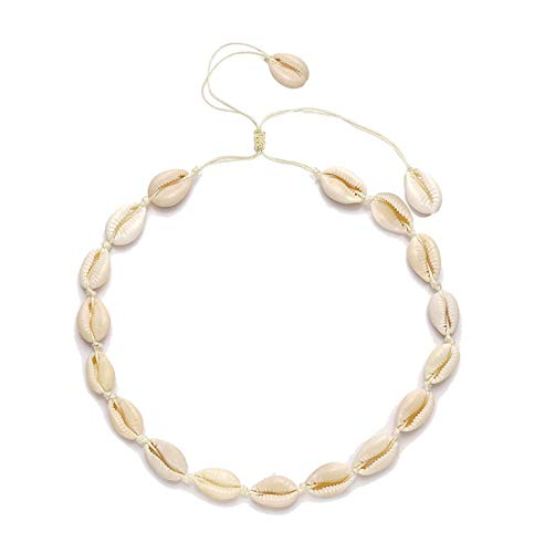 YINL Shell Choker Necklace Natural Shell Beads Handmade Hawaii Beach Choker for Girls (Beige Rope Shell) (Fashionable Shell Beads Necklace)