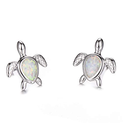 Vanessa Blue Opal Sea Turtle Earrings Birthstone Jewelry Birthday Christmas Stud Earrings Gifts for Her (Silver White Earrings)