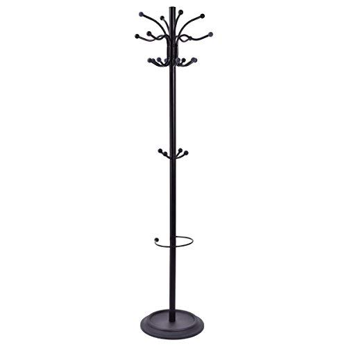 AyaMastro 21 Hooks Metal Coat Hat Jacket Stand Tree Umbrella Holder Hanger Rack 72'' w/Round Steel Base by AyaMastro (Image #1)