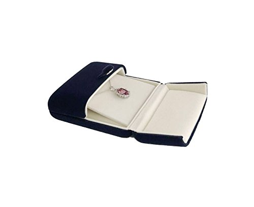 Svea Display Double Function Navy Blue Velvet Pendant Earrings Necklace Gift Box Double Layer Fine Material Modern Elegant (Pendant Necklace) by Svea Display (Image #3)'