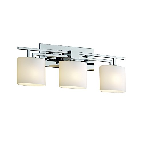 Justice Design Group Fusion 3 Light Bath Bar   Polished Chrome Finish With  Opal Artisan Glass Shade   Wall Sconces   Amazon.com
