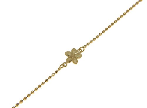 14k solid yellow gold 2 sided Hawaiian plumeria diamond cut bead chain anklet 10'' by Arthur's Jewelry (Image #2)