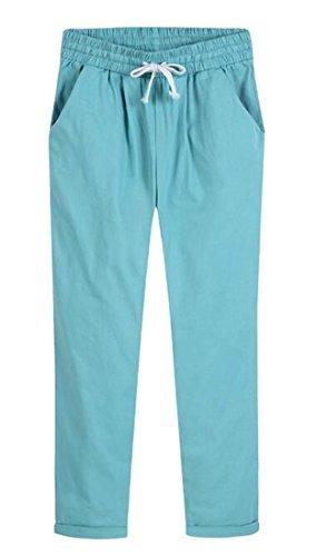 Jotebriyo Women's Casual Cotton Solid High Rise Drawstring Straight Leg Slim Pencil Pants Blue - Leg Rise Pencil High