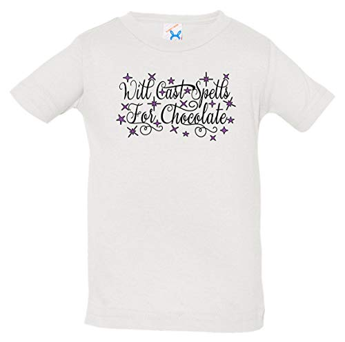 Tenacitee Infant's Will Cast Spells for Chocolate Shirt, 6 Months, White -