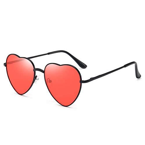 Dollger Red Heart Sunglasses for Women 70s Glasses Thin Metal Frame Lovely Heart Style Red lens and Black ()