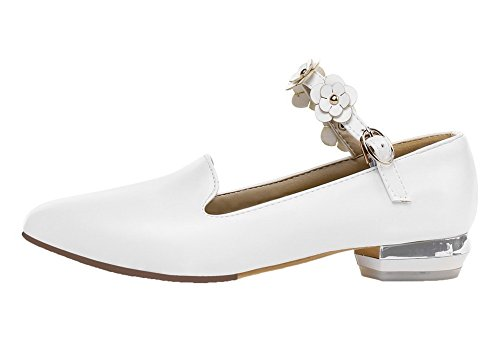 Women's Pumps Buckle Pointed White Toe WeiPoot Low Closed Shoes Heels Solid PU 6qTcd1wz