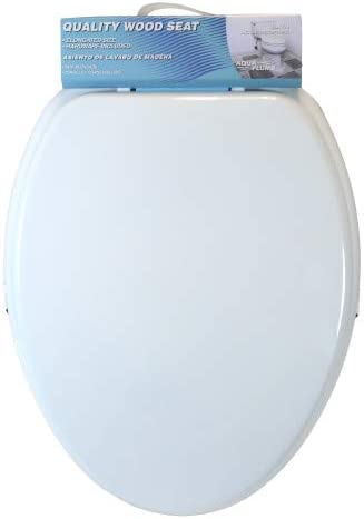 Toilet Seat Elongated by Aqua Plumb Durable Color Matched Hinges White All Hardware Included Fits all Manufacturers/' Elongated Toilet Bowls. Durable Coated Premium Paint