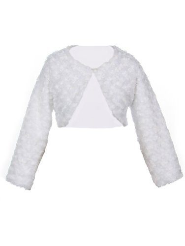 Fleece Bolero (Faux Fur Long Sleeve Bolero Jacket Shrug - White Girl 4)