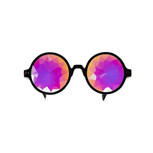 Kaleidoscope Glasses Round Rave EDM Festival Concert Party Diffraction Lenses -