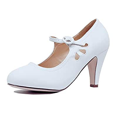 Guilty Heart Womens Mary Jane Chunky Heel Pumps - Comfortable Mid Kitten Heel Shoe with Ankle Strap White Size: 5.5