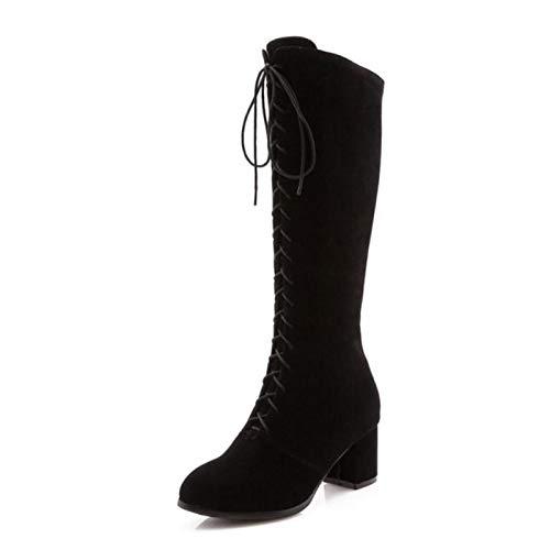 HAOLIEQUAN Frauen High Heels Frau Knie Stiefel Winter Spitz Warme Schuhe Frau Heels Mode Kreuzgurt Gladiator Stiefel Größe 33-43 06f276