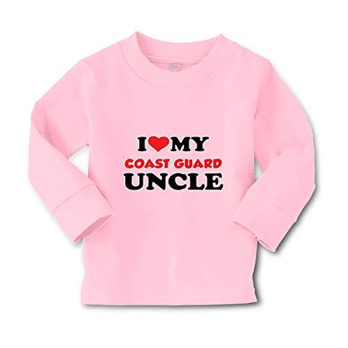 I Love My Coast Guard Uncle Long Sleeve Crewneck Toddler Boys-Girls Cotton T-Shirt Tee - Soft Pink, 2T