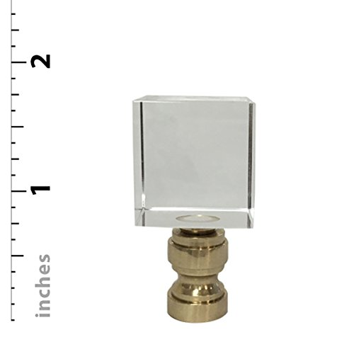 Royal Designs Clear Cube K9 Crystal Lamp Finial with Polished Brass Base - Set of 2 by Royal Designs, Inc (Image #4)