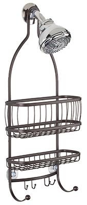 (InterDesign York Metal Wire Hanging Shower Caddy, Extra Wide Space for Shampoo, Conditioner, and Soap with Hooks for Razors, Towels, and More 10