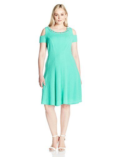 Sandra Darren Women's Plus Size Cold Shoulder Fit and Flare Knit Necklace Dress, Mint