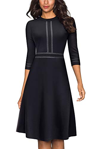 HOMEYEE Women's Vintage Crew Neck 3/4 Sleeve Patchwork Cocktail Aline Dress A135