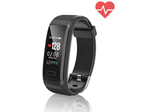 TEMEXE All Black Fitness Tracker Waterproof with Color Display Activity Watch Smart Band with Heart Rate Sleep Monitor IP67 Call Message SNS Reminder Wearable Pedometer Wristband for Android iOS