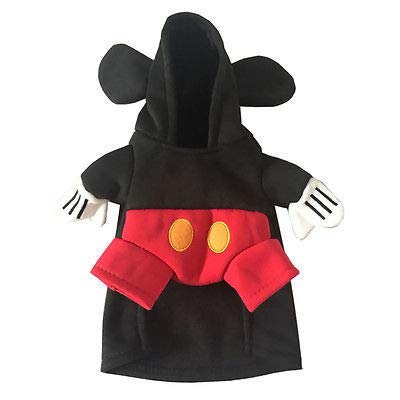 FidgetGear Pet Dog Mickey Minnie Mouse Hooded Coat Jumpsuit Fancy Dress Costume Apparel Red Mickey M -