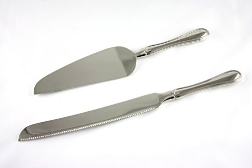 Skyway Wedding Cake Knife and Server Set Silver - Engravable
