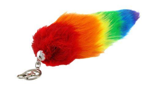 Bright Rainbow Stripe Faux Fur Fox Tail w/ Clip 12 Inch (Granny Stripe)