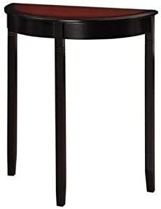 Linon Camden Demi Lune Console Table, 26 w x 13 d x 28 h, Black Cherry
