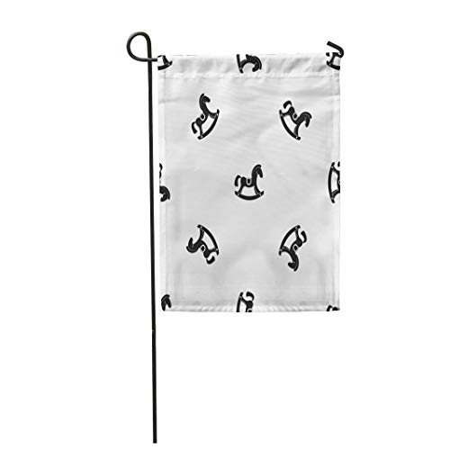 Semtomn Garden Flag Little Toy Horse Pattern in Black Color for Any 28