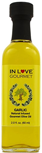 In Love Gourmet Garlic Natural Flavor Infused Gourmet Olive Oil 60ML/2oz (Sample Size) Great Tossed with Pasta, on Salads, as a Sandwich Spread, for Bread Dipping and in Marinades.