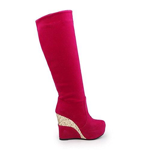 VogueZone009 Damen Rund Zehe Hoher Absatz Hoch-Spitze Rein Stiefel, Pink, 37