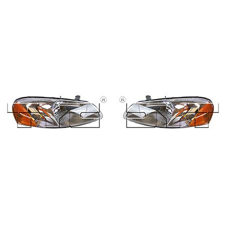 CarLights360: Fits 2001 2002 Chrysler Sebring Headlight Assembly Driver and Passenger Side NSF Certified w/Bulbs - Replaces CH2502128 CH2503128 (Vehicle Trim: Convertible ; - Chrysler Auto Sebring Convertible