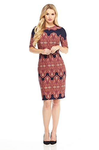 (London Times Women's Elbow Sleeve Round Neck Matte Jersey MIDI Dress, Navy Orange, 4)