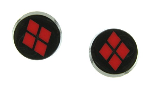 Black Plated Harley Quinn Logo Stud Earrings (Woman Joker Costume)