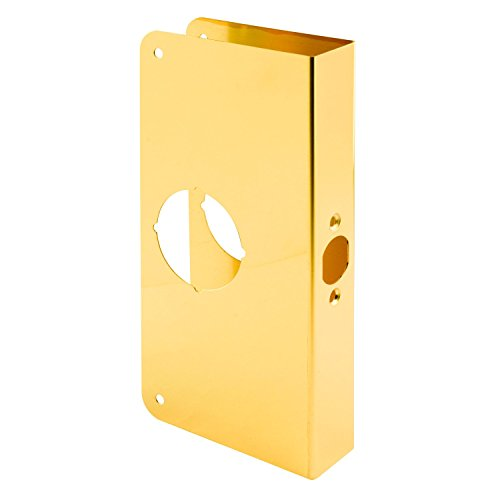 Prime-Line MP9402 Lock & Door Reinforcer, 1-3/8 in. x 2-3/4 in, Solid Brass, Polished Finish, Pack of 1 ()