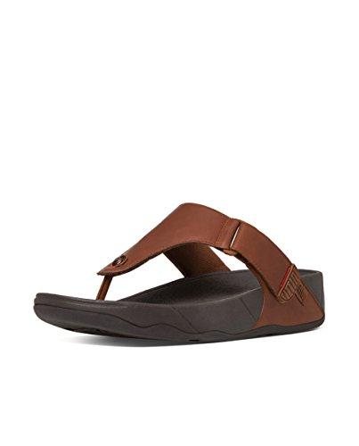 FitflopTrakk Ii Leather - Sandalias de Punta Descubierta hombre marrón (Dark Tan)