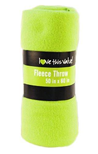 Green Fleece Throw (Cozy 50 X 60 Fleece Throw Blanket -Lime Green)