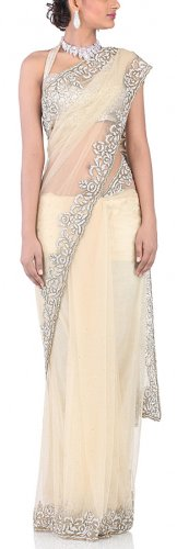 Chhabra 555 Womens Beige Net Saree-One Size