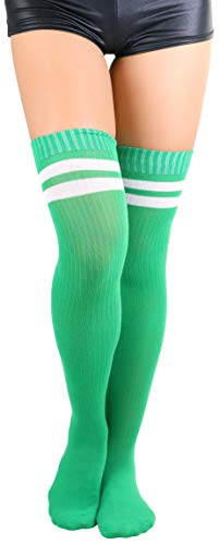 Tights Hosiery Stripe Sexy (ToBeInStyle Women's Ribbed Athletic Thigh Highs - White/KellyGreen - OS)