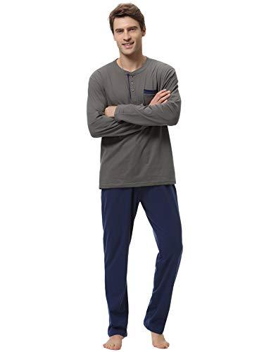 2 Generoso Algodón a Piezas Largo Pantalon Hombre Cómodo Pijama Azul Aibrou Invierno Mangas Larga 100 Y O8Zw5xvqz