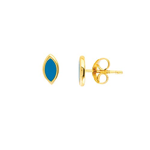 14k Yellow Gold Simulated Turquoise Enamel Marquis Stud Earrings